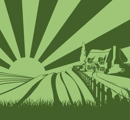 Een boerderij met rieten dak huisje in een idyllische landschap van glooiende heuvels en zonsopgang in de achtergrond