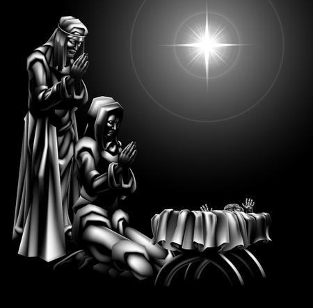 マリヤやヨセフと一緒に飼い葉桶に星の下に赤ちゃんイエスの伝統的なキリスト教クリスマス キリスト降誕のシーン  イラスト・ベクター素材