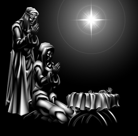 Traditional Christian Christmas Nativity Scene of baby Jesus beneath the star in the manger with Mary and Joseph Illustration