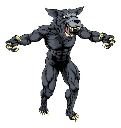 An illustration of a Wolf man, werewolf or wolf sports mascot character with claws out