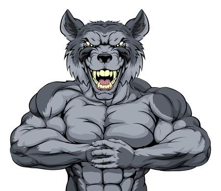 Betekenen op zoek wolf karakter klaar voor gevecht ponsen vuist in de handpalm Stock Illustratie