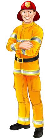 Een illustratie van een gelukkige knappe staande brandbestrijder brandweerman met zijn armen gevouwen