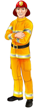 An illustration of a happy handsome standing firefighter fireman with his arms folded