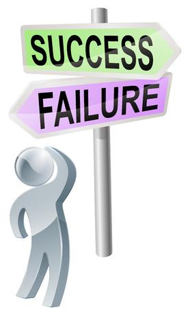 Une personne avec une décision à prendre regardant un signe avec les directions de la réussite ou de l'échec Vecteurs