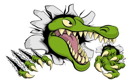 Illustration d'un alligator ou de crocodile bande dessinée brisant à travers un mur avec des griffes et la tête