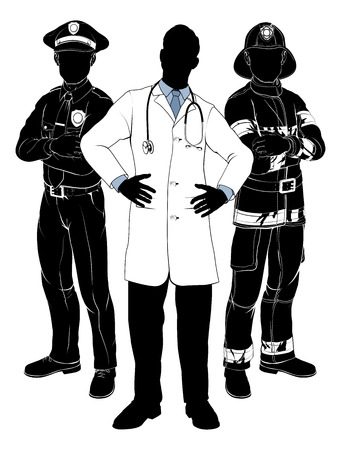 Noodhulpdiensten team silhouetten van een politieagent of een politieagent, een brandweerman of brandweerman en een arts