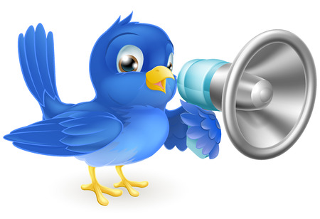An illustration of a cartoon bluebird blue bird with a megaphone