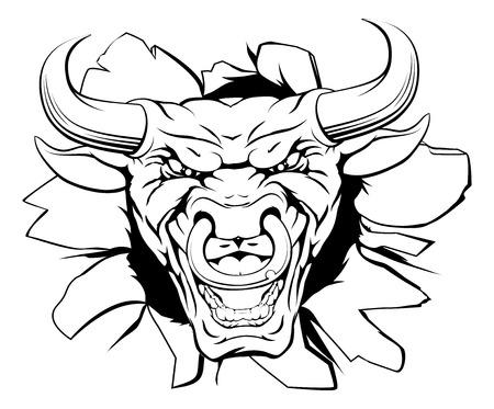 Une moyenne caractère taureau ou la mascotte sportive sortir