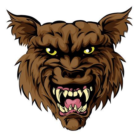 평균 찾고 늑대 인간 늑대 인간, 또는 늑대 스포츠 마스코트 캐릭터 얼굴