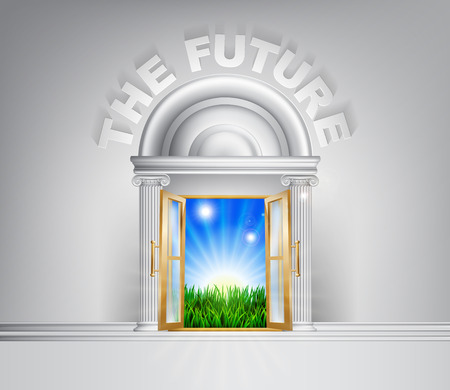 Zukünftige Türkonzept. Eine konzeptionelle Illustration für ein glückliches grünen Zukunft einer Türöffnung auf einem Bereich, der üppig grünen Gras