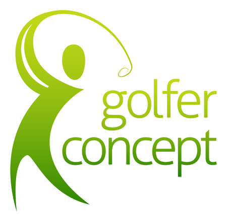 An abstract golfer figure swinging his golf club concept