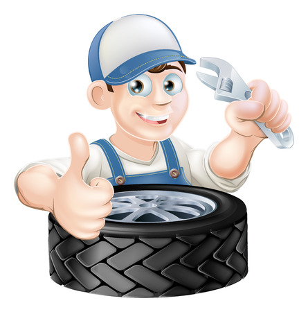 An illustration of a cartoon mechanic with spanner or wrench and tire (tyre) giving a thumbs up Фото со стока - 38610128