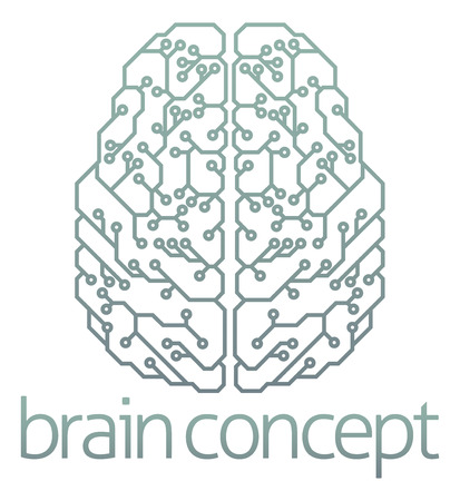 An abstract illustration of a brain computer circuit concept design