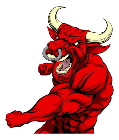 Een stoere gespierde red bull karakter sport mascotte aanvallen met een punch