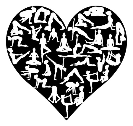 A heart shape made from silhouettes in yoga or pilates poses, concept for a love of the exercise or sport of yoga or pilates Vectores