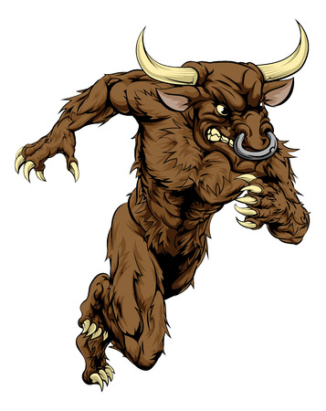 A bull man minotaur character or sports mascot charging, sprinting or running Çizim