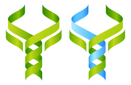 Tree DNA symbol, a DNA double helix growing into a stylised plant tree shape. Great for medical, science, research or other nature related use. Ilustração