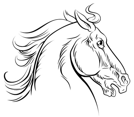 An original illustration of a horse head in a vintage woodcut woodblock style