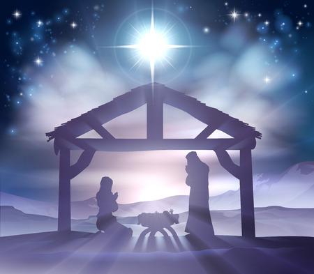 De traditionele Christelijke Kerststal van het kindje Jezus in de kribbe met Maria en Jozef in silhouet