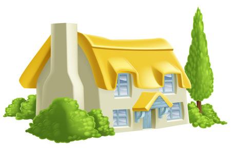 Een illustratie van een rietgedekte landhuis of boerderij
