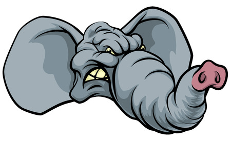치열 한 코끼리 동물 캐릭터 또는 스포츠 마스코트의 그림