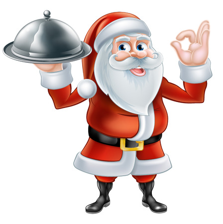 An illustration of a happy cartoon Santa Claus holding a plate of food and giving a perfect hand gesture