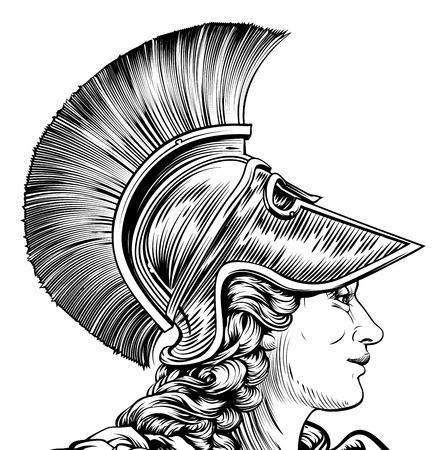 Een oude Griekse krijger vrouw in vintage stijl. Mogelijk Athena, Hera, of Britannia Stock Illustratie