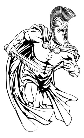 An illustration of a warrior character or sports mascot  in a trojan or Spartan style helmet holding a sword Vettoriali