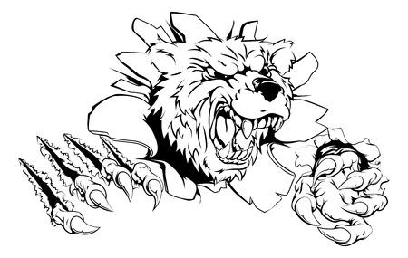 Bear klauw doorbraak concept van een beer zijn weg te breken uit het scherm Stock Illustratie