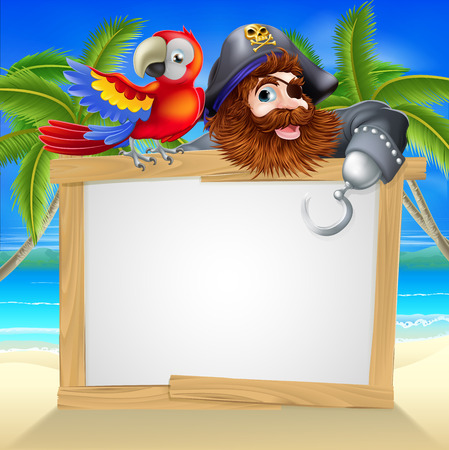 Cartoon pirate beach sign illustration of a fun cartoon pirate with his parrot pointing over a sign on a beach
