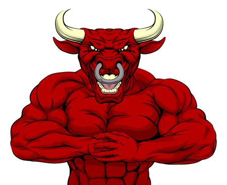 붉은 황소 마스코트 캐릭터 또는 스포츠 마스코트 싸울 준비