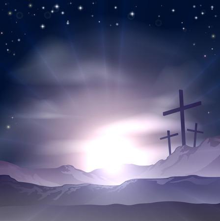 3 つの十字架の丘の上のキリスト教の復活祭コンセプト