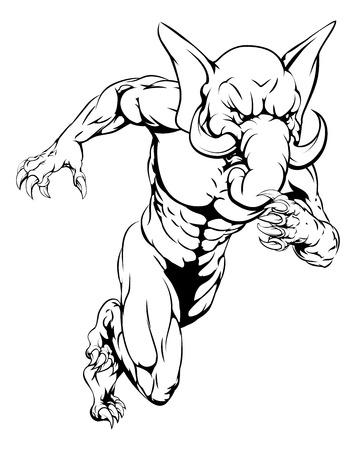 Ein Elefant Mann Charakter oder Sport Maskottchen Lade, Sprinten oder Laufen Standard-Bild - 38906652