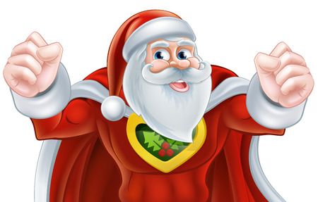 快乐卡通圣诞老人圣诞超级英雄人物插画