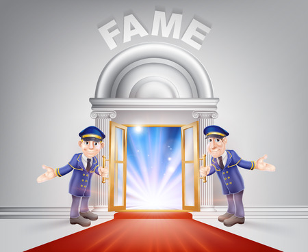 Fame Door concept of a doormen holding open a red carpet entrance to fame with light streaming through it. Ilustracja