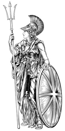 An original illustration of Britannia, personification of Britain, holding a Union Jack Shield and trident in a vintage woodcut style