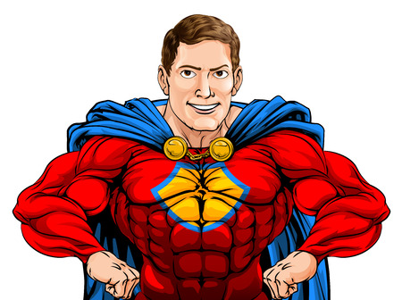 An illustration of a tough cartoon superhero character with hands on hips