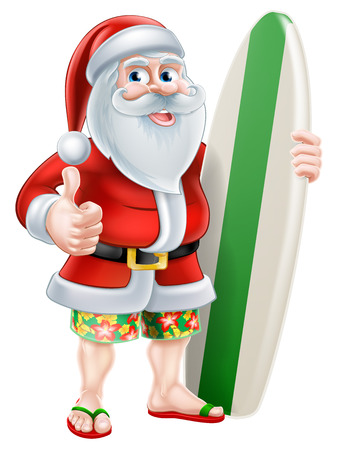 Cartoon of Santa Claus holding a surf board and giving a thumbs up in his Hawaiian board shorts and flip flop sandals