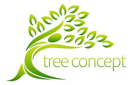 Tree person symbol concept of a stylised tree in the shape of a human figure with leaves, lends itself to being used with text