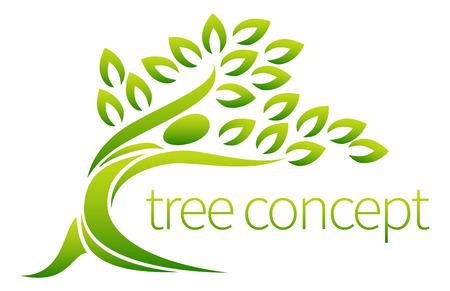 Baum Person Symbol Konzept einer stilisierten Baum in der Form einer menschlichen Figur mit Blättern, bietet sich mit Text verwendet