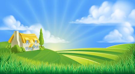 Een illustratie van een leuke rietgedekte boerderij in een landschap van glooiende heuvels Vector Illustratie