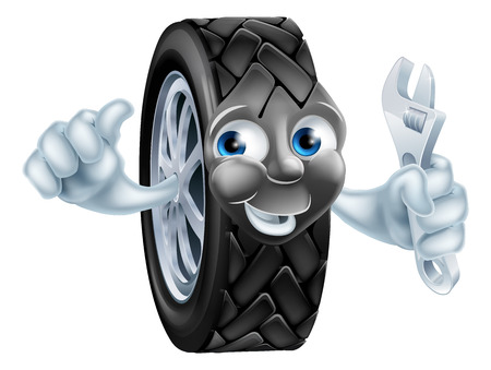 Cartoon tire mechanic garage mascot with wrench or spanner doing thumbs up gesture