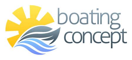 モータの速度のボートやヨットのコンセプト デザインの抽象的なイラスト