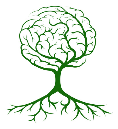 Brain tree concept of a tree growing in the shape of a human brain. Could be a concept for ideas or inspiration Ilustrace