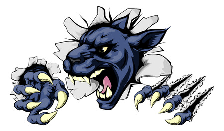 Panther sports mascot breakthrough concept of a panther sports mascot or character breaking out of the background or wall Çizim