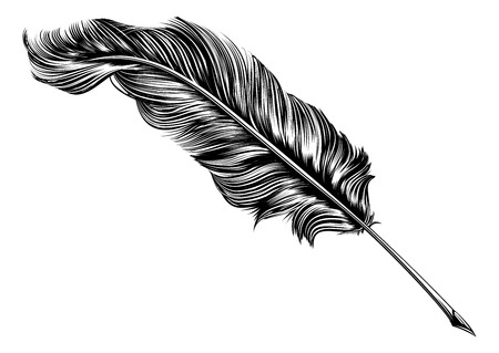 An original illustration of a feather quill pen in a vintage woodblock style Ilustração