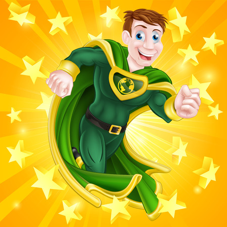 A cartoon super hero man with a green and yellow cape and costume and an earth globe symbol on his chest with stars background