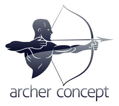 Conceptual archery sports illustration of an archer shooting a bow and arrow Ilustração
