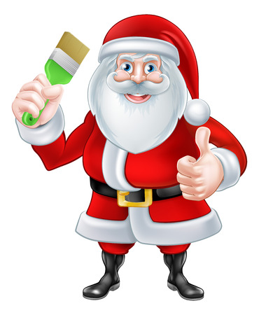 A Christmas cartoon illustration of Santa Claus holding a paintbrush and giving a thumbs up Ilustracja