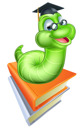 Happy cartoon caterpillar worm bookworm mascot wearing glasses and graduation hat on a stack of books